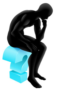 Conceptual illustration of a silhouette man seated on a question mark icon in a thinker pose deep in thought. Could be concept for any questioning or psychology, poetry or philosophy.